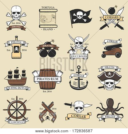 Modern professional pirate logo marine badges nautical sword old skeleton banner template and skull roger sea icon captain ocean art element vector illustration. Ship decoration ribbon label.