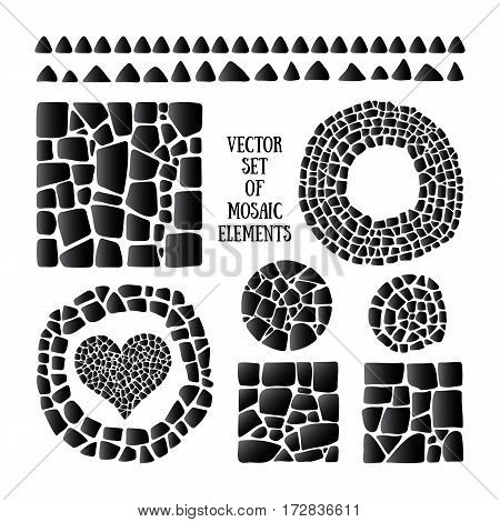 Set of black Mosaic design objects in different forms. Vector tile border, circle, heart, square. Ceramic tile texture. Easy to recolor.