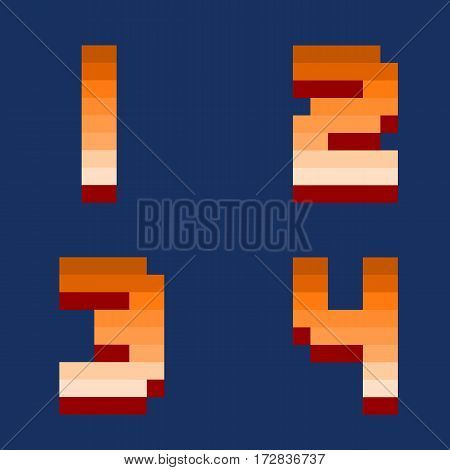 Pixel retro numbers video computer game design 8 bit letters and numbers electronic futuristic style. Vector abc typeface digital creative alphabet.