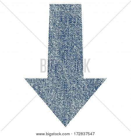 Arrow Down vector textured icon for overlay watermark stamps. Blue jeans fabric vectorized texture. Symbol with dust design. Blue ink rubber seal stamp with fiber textile structure.