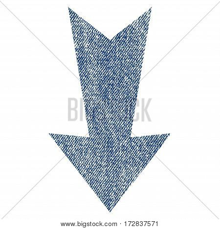 Arrow Down vector textured icon for overlay watermark stamps. Blue jeans fabric vectorized texture. Symbol with dirty design. Blue ink rubber seal stamp with fiber textile structure.