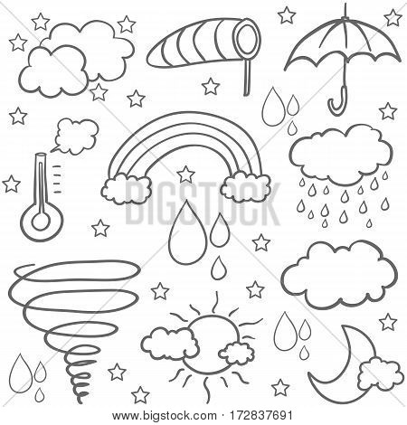 Doodle of weather set vector flat collection stock