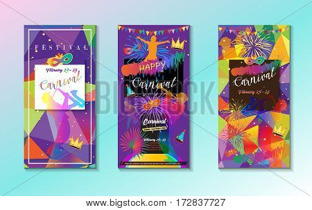 Set of the Carnival, Music Festival, Masquerade festive posters, invitation, banners. Holiday modern design with confetti, musicians, Venetian carnival mask, crown, carnival symbols. Rio de Janeiro Brazil, Columbia, Barranquilla New Orlean, partying Limbu
