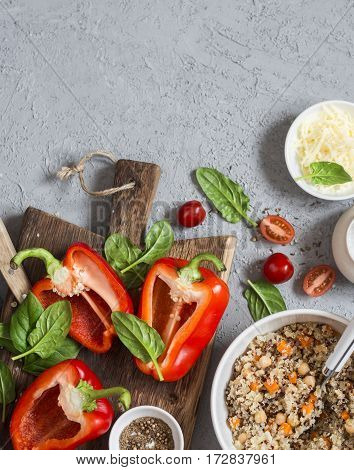 Ingredients for cooking quinoa stuffed bell peppers. Top view flat lay. Copy space