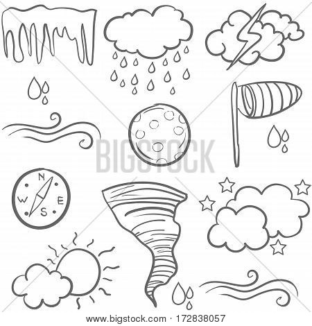 Set of weather doodles vector collection stock