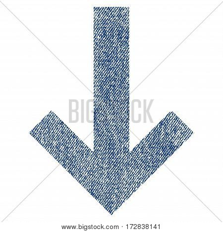 Arrow Down vector textured icon for overlay watermark stamps. Blue jeans fabric vectorized texture. Symbol with scratched design. Blue ink rubber seal stamp with fiber textile structure.