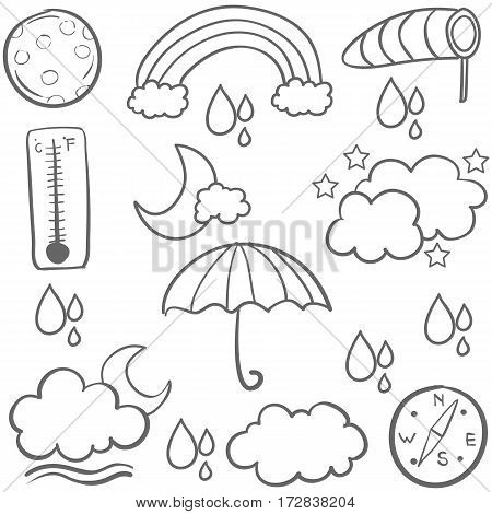 Collection of weather set doodles vector art