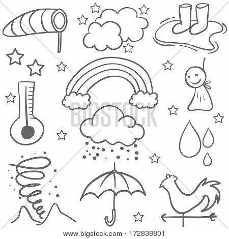 Doodle of weather set object vector art collection