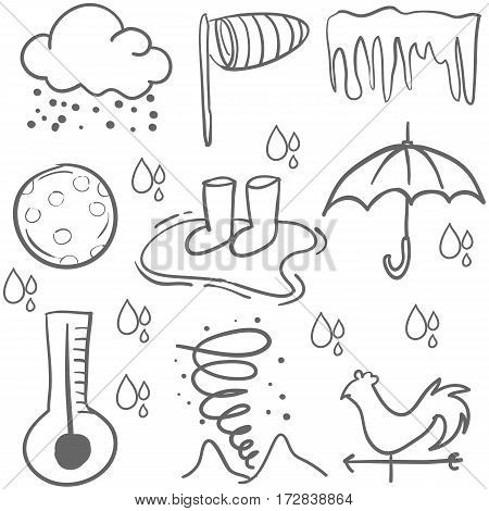 Doodle of weather element vector art collection