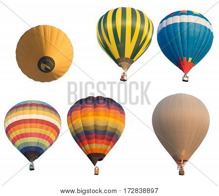 Group hot balloon color isolated in white background