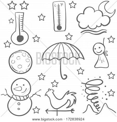Doodle of weather set vector illustration vector art