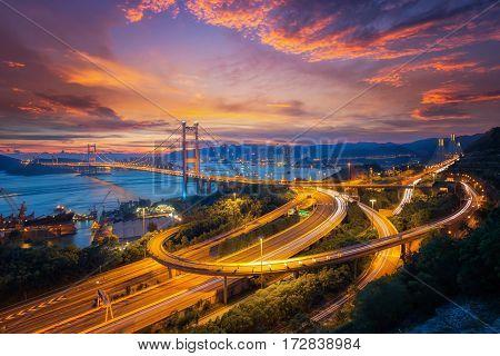 Tsing ma bridge link between airport and Hong kong city main transportation in Hongkong China.
