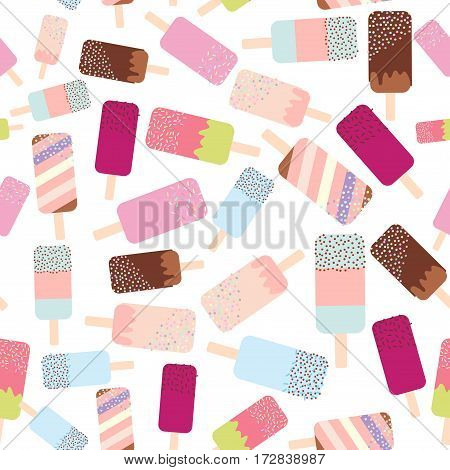 seamless pattern ice cream ice lolly pastel colors on white background. Vector illustration