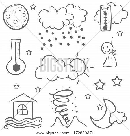 Weather set doodles vector illustration collection stock