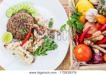 Fried Rice With Squid, Shrimp Paste, Thai Style Food.