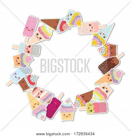 Card design for your text. round frame wreath. cupcakes with cream ice cream in waffle cones ice lolly Kawaii with pink cheeks and winking eyes pastel colors on white background. Vector illustration