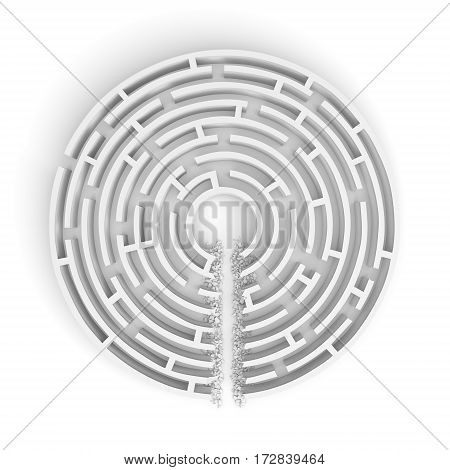 3d rendering of a white round maze with a direct route cut right to the center. Road to success. Unexpected solutions. Mazes and labyrinths.