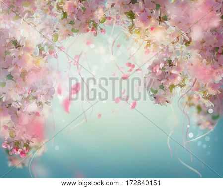 Spring cherry blossom background with falling petals, floating ribbons