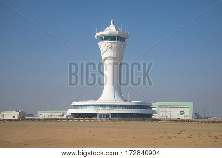 ASHGABAT, TURKMENISTAN - JANUARY 07, 2017: A view on new buildings of control center of flights at the international airport of Ashgabat