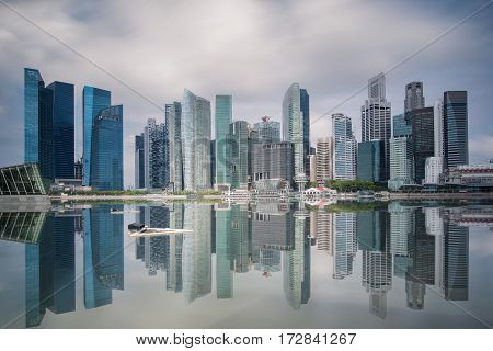 Singapore Skyline. Singapore`s business district Marinabay and city scape in day time