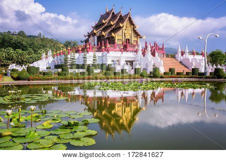 Traditional thai architecture in the Lanna style Royal Pavilion (Ho Kum Luang) at Royal Flora Expo Chiang Mai Thailand