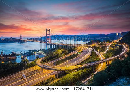 Tsing Ma Bridge Hong Kong. Road trafic link from Hongkong and airport and Port. poster