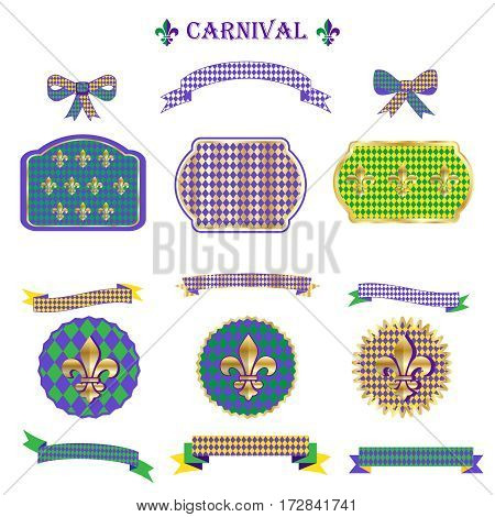 Ribbon and banners, label, ribbon bow tie, frames, vintage border, garland, pattern with fleur-de-lis symbol set for Mardi Gras Carnival Festival, Masquerade Decoration.