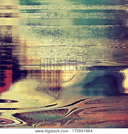 Abstract scratched background or frame with weathered grunge texture. Ancient style backdrop with different color patterns: yellow (beige); brown; blue; purple (violet); pink; cyan