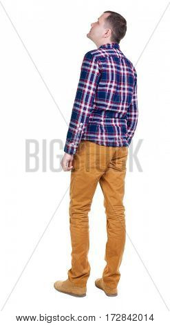 Back view of handsome man in checkered shirt  looking. Standing young guy in jeans. Rear view people collection.  backside view of person.  Isolated over white background.
