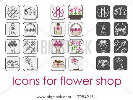 Icon Set flower shop in three versions