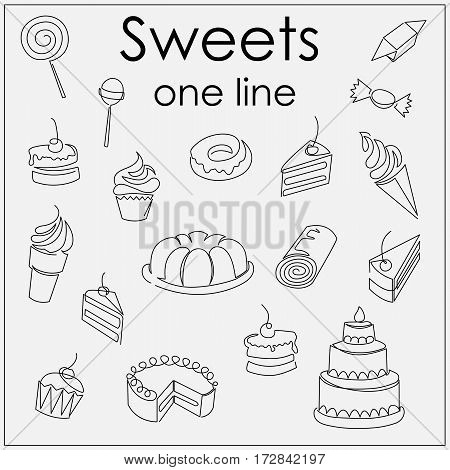 desserts and sweets are drawn by a single line