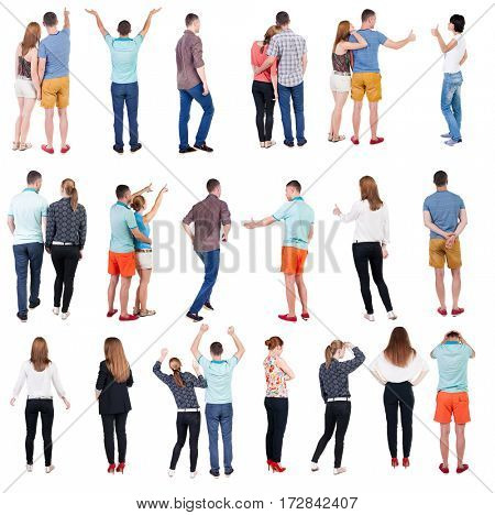 Collection Back view people. Rear view people set. backside view of person. Isolated over white background .