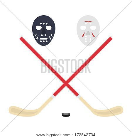 Hockey, hockey stick, puck. Flat design, vector illustration, vector.