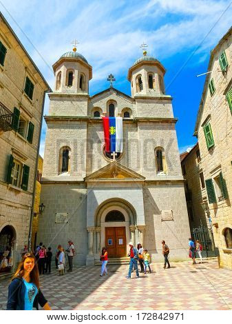 Kotor, Montenegro - May 07, 2014: St. Nicholas Serbian Orthodox Church on St. Luke's square at Kotor's Old Town.