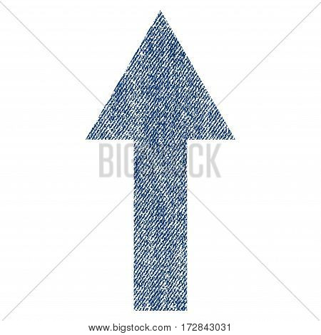 Arrow Up vector textured icon for overlay watermark stamps. Blue jeans fabric vectorized texture. Symbol with scratched design. Blue ink rubber seal stamp with fiber textile structure.