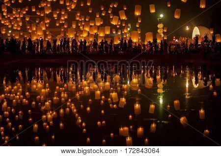 Flying Sky Lantern on Yeepeng festival thai lanna tradition religion in Chiangmai thailand