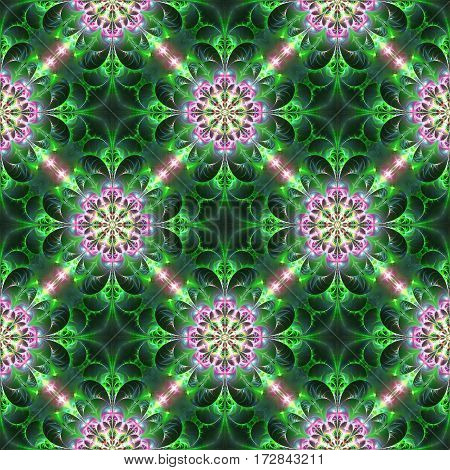 Exotic Flowers In Green And Pink Colors. Abstract Seamless Pattern. Fantasy Fractal Art. 3D Renderin