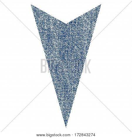 Arrowhead Down vector textured icon for overlay watermark stamps. Blue jeans fabric vectorized texture. Symbol with dirty design. Blue ink rubber seal stamp with fiber textile structure.