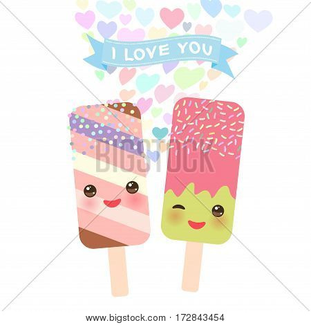 I love you Card design with Kawaii striped and strawberry-pistachio Ice cream ice lolly with pink cheeks and winking eyes pastel colors on white background. Vector illustration