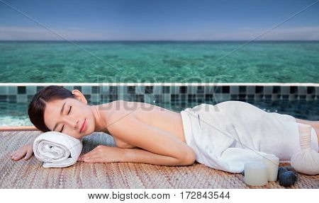 Sea and spa turquoise beach chiropractic massage therapy woman thailand summer concept for resort hotel and spa