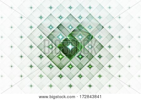 Abstract Geometric Ornament With Glowing Sparkles On White Background. Fantasy Fractal Design In Gre