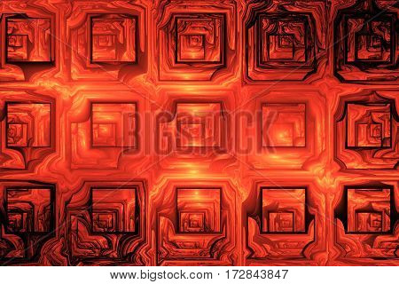 Abstract Grunge Texture With Distorted Shapes. Fractal Background In Orange Colors. Digital Art. 3D