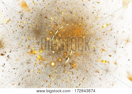 Abstract Glowing Shapes On White Background. Fantasy Fractal Design In Golden Colors. Psychedelic Di