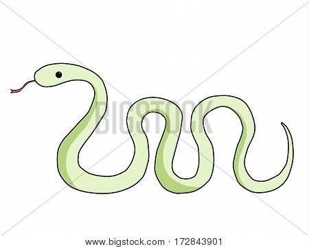 Green cartoon snake with his tongue sticking out