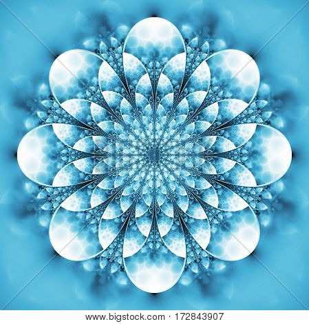 Abstract Exotic Flower. Psychedelic Mandala Design In Light Blue Colors. Fantasy Fractal Art. 3D Ren