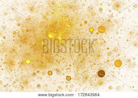 Abstract Golden Sparkles On White Background. Fantasy Fractal Art. 3D Rendering.