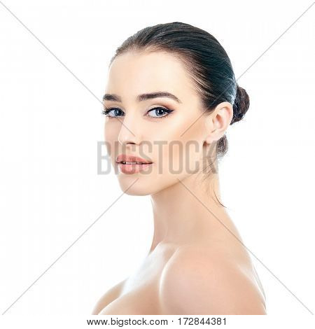 Gorgeous lady. Female beauty portrait over white background. Beautiful young woman posing in studio. Perfect for cosmetology, youth and aging, spa, beauty treatment, health care advertising use.