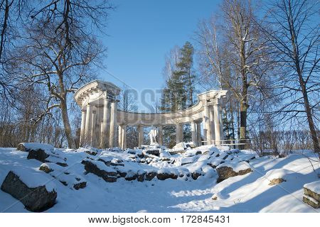 ST. PETERSBURG, RUSSIA - FEBRUARY 06, 2017: View of Apollo's colonnade in the sunny February afternoon. Pavlovsk palace park