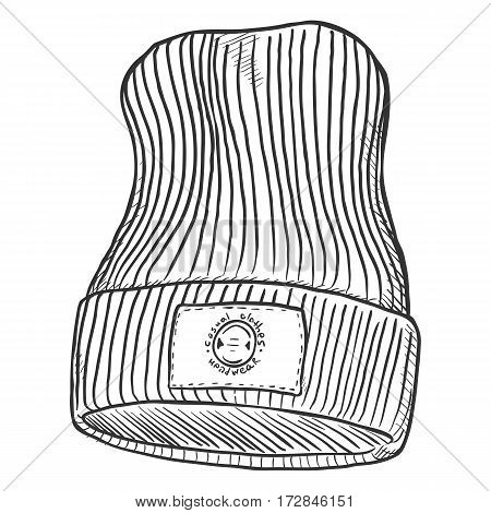 Vector Sketch Knitted Winter Cap With Label