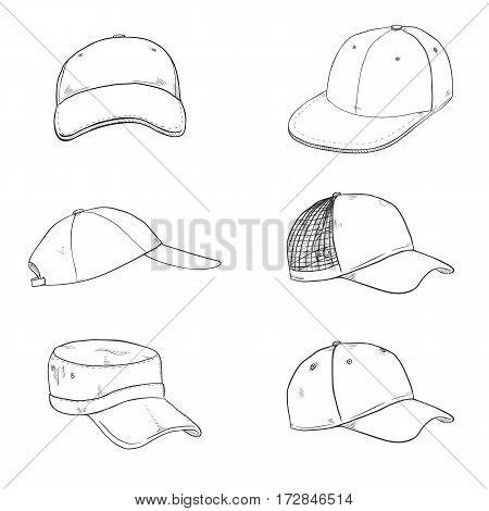 Vector Set Of Sketch Baseball Caps